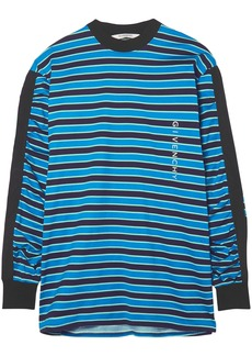 Givenchy Woman Grosgrain-trimmed Striped Cotton-jersey Top Blue