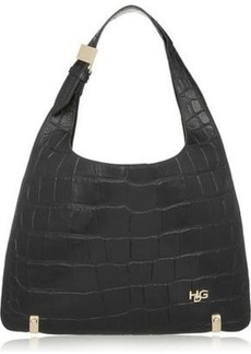 Givenchy Woman House De Givenchy Small Croc-effect Leather Shoulder Bag Black