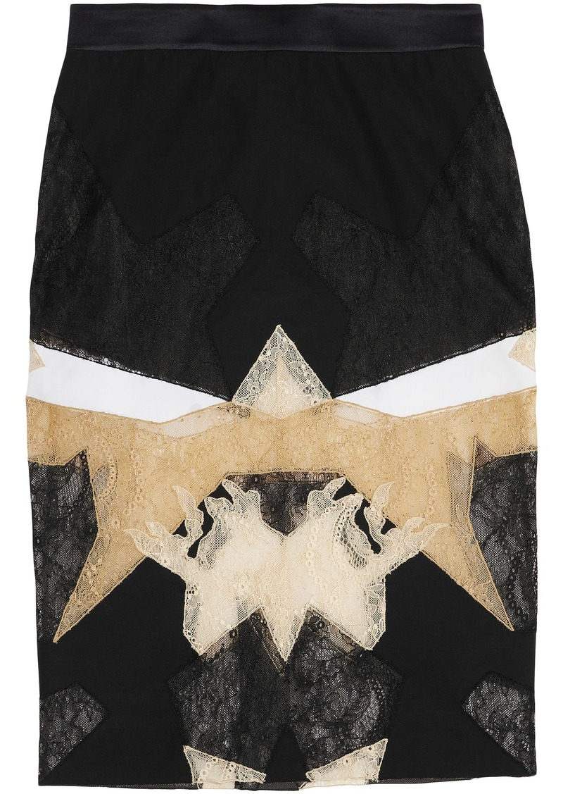 Givenchy Woman Lace-paneled Satin Skirt Multicolor
