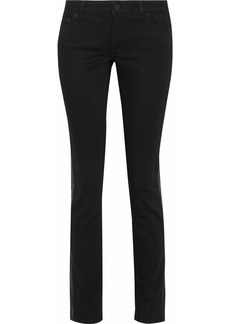 Givenchy Woman Leather-appliquéd Low-rise Skinny Jeans Black