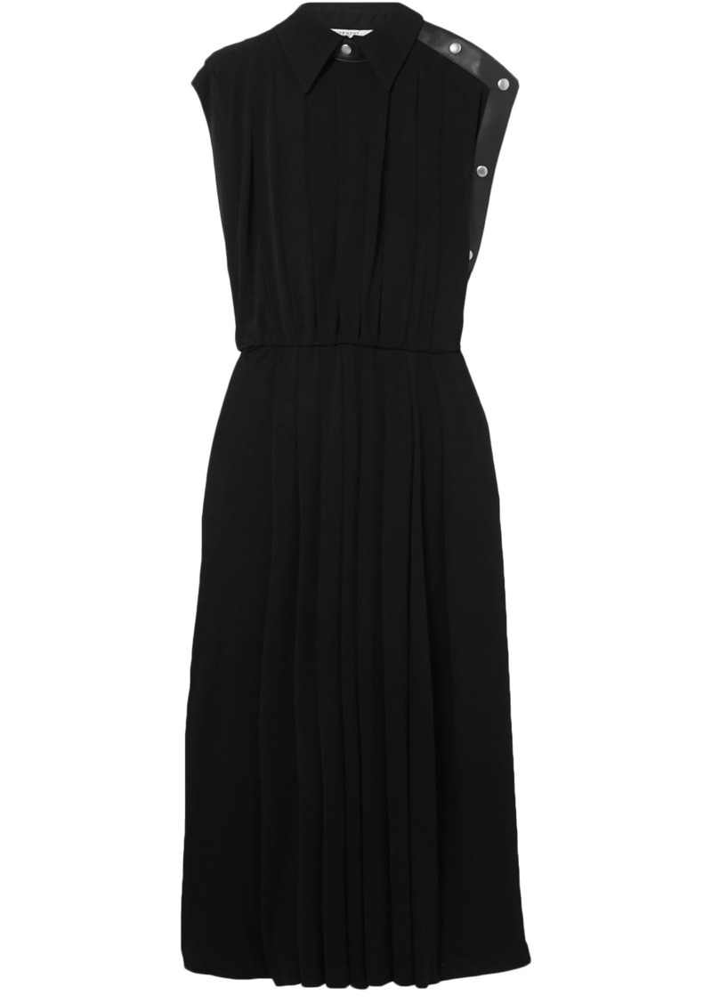Givenchy Woman Leather-trimmed Pleated Jersey Midi Dress Black