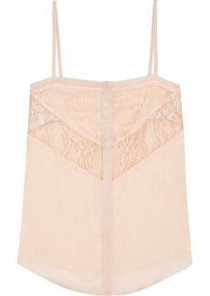 Givenchy Woman Leaver's Lace-paneled Pleated Silk-chiffon Camisole Pastel Pink