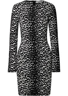 Givenchy Woman Leopard-jacquard Mini Dress Black