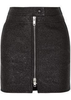 Givenchy Woman Metallic Textured-leather Mini Skirt Black