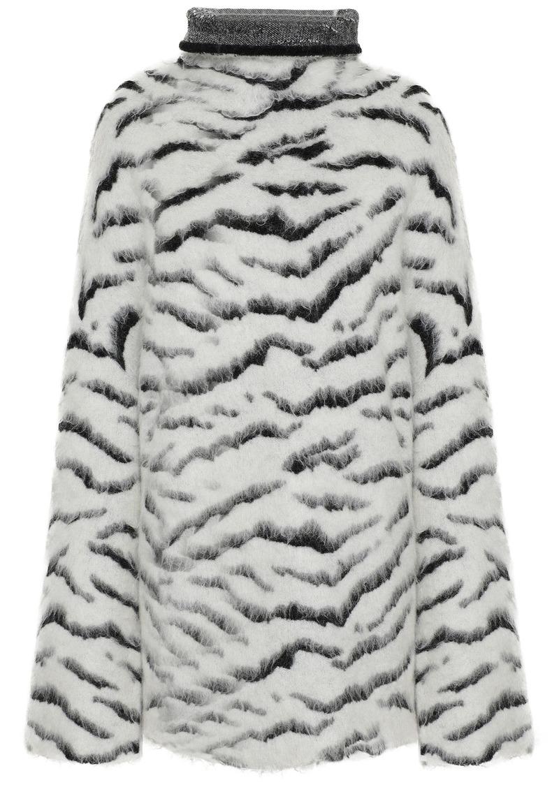 Givenchy Woman Oversized Zebra-jacquard Turtleneck Sweater White