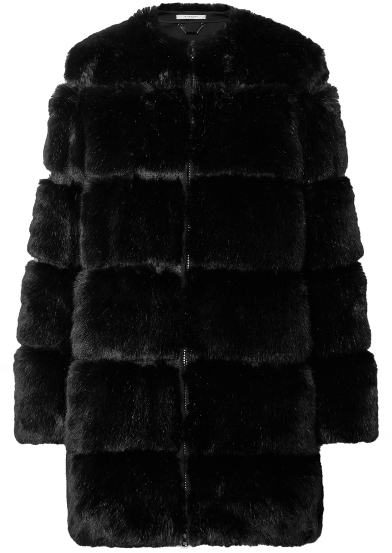 Givenchy Woman Paneled Faux Fur Coat Black