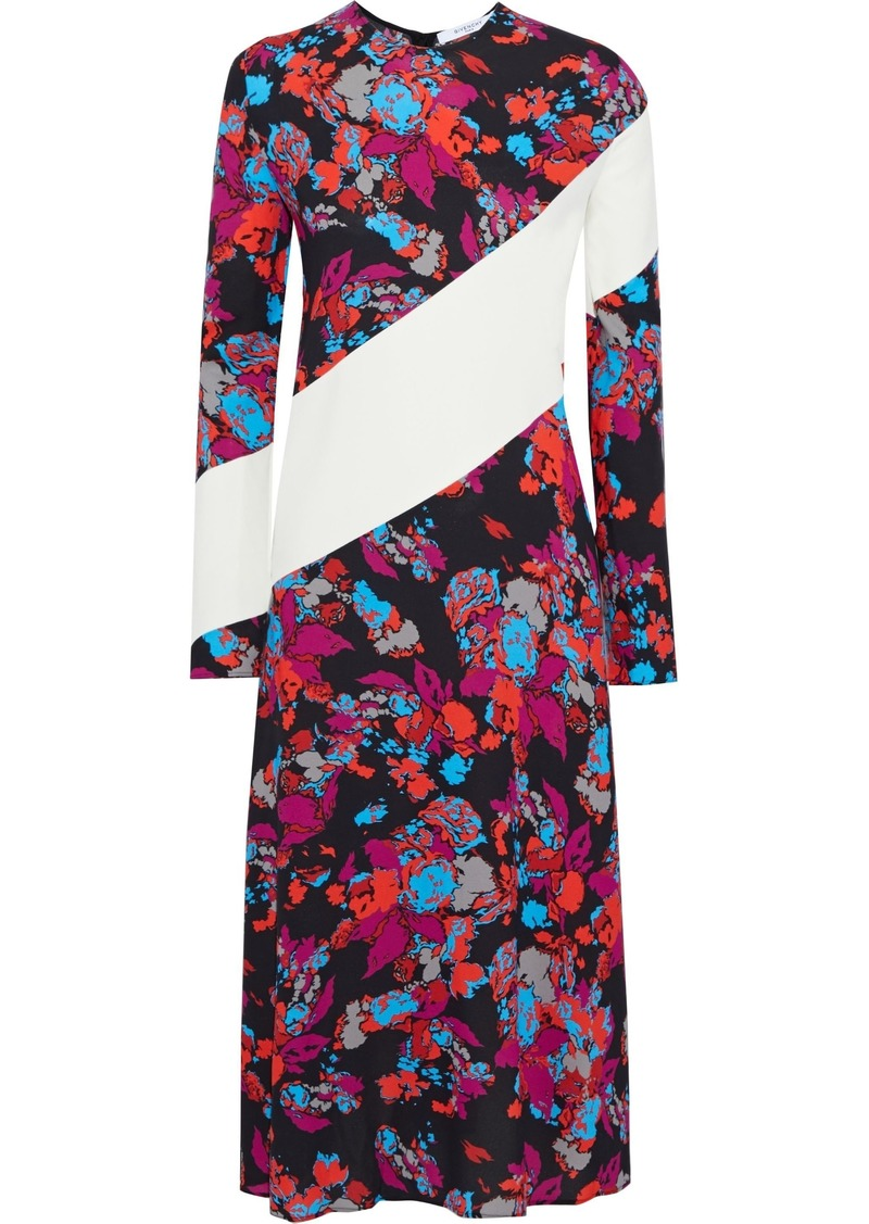 Givenchy Woman Paneled Floral-print Crepe Midi Dress Multicolor