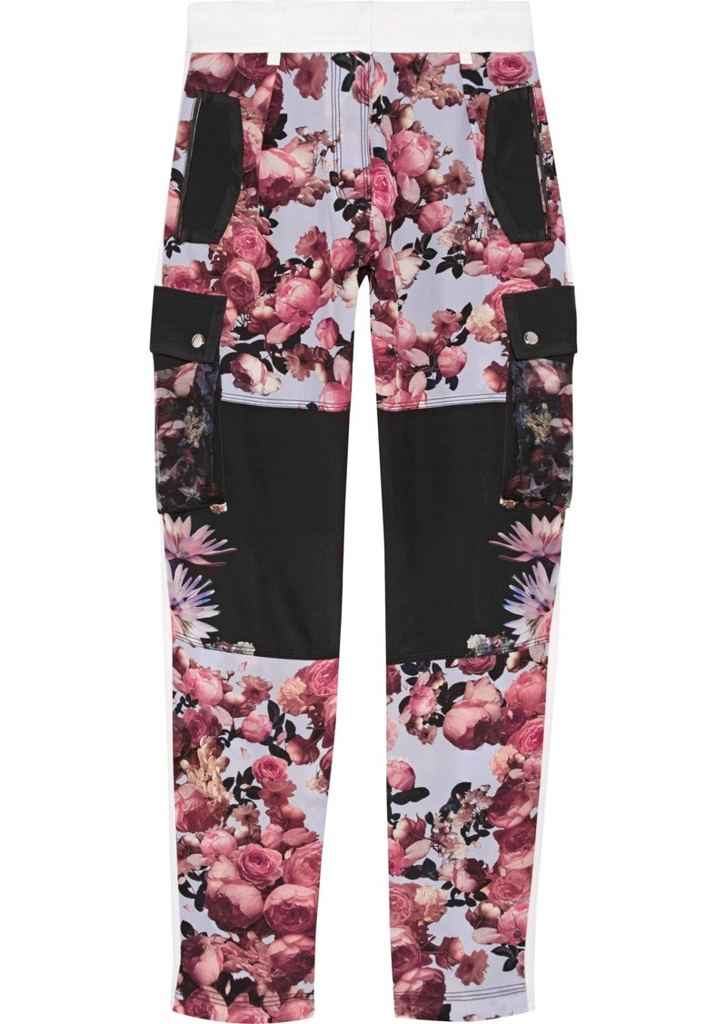Givenchy Woman Paneled Floral-print Silk Straight-leg Pants Black