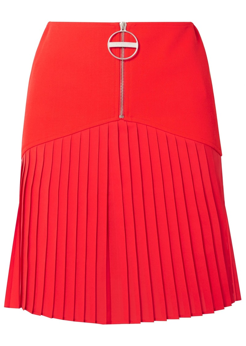 Givenchy Woman Pleated Chiffon-paneled Wool Mini Dress Red