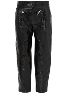 Givenchy Woman Cropped Glossed Cracked-leather Straight-leg Pants Black