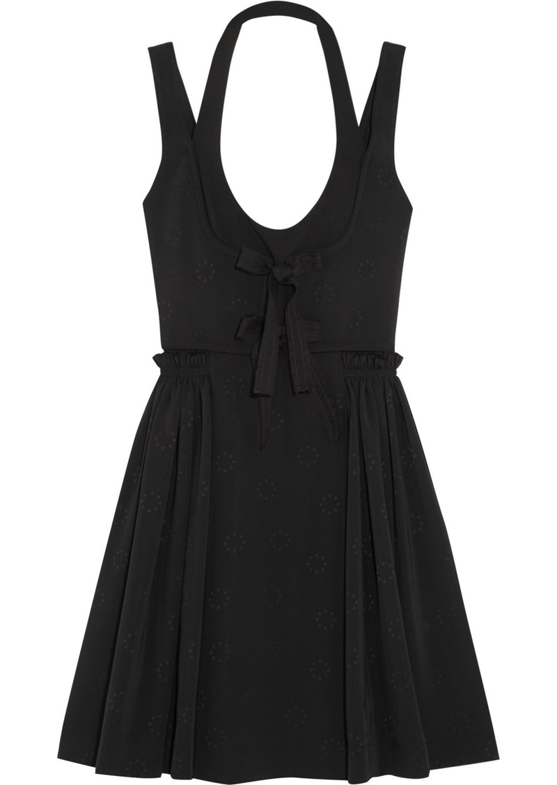Givenchy Woman Pleated Jacquard Mini Dress Black