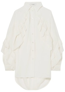Givenchy Woman Pleated Ruffle-trimmed Silk-blend Chiffon Blouse White
