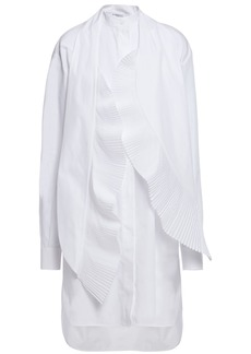 Givenchy Woman Pleated Tie-neck Cotton-poplin Tunic White