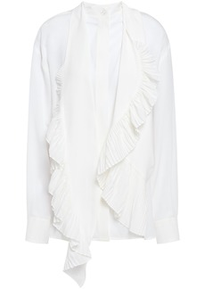 Givenchy Woman Pleated Tie-neck Silk Crepe De Chine Shirt White
