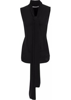 Givenchy Woman Pleated Two-tone Silk-crepe Top Black