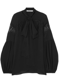 Givenchy Woman Pussy-bow Lace-paneled Silk-georgette Blouse Black