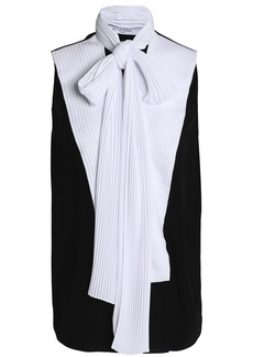 Givenchy Woman Pussy-bow Pleated Crepe Top Black