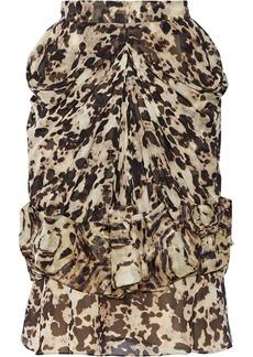 Givenchy Woman Ruched Silk-chiffon Skirt Animal Print
