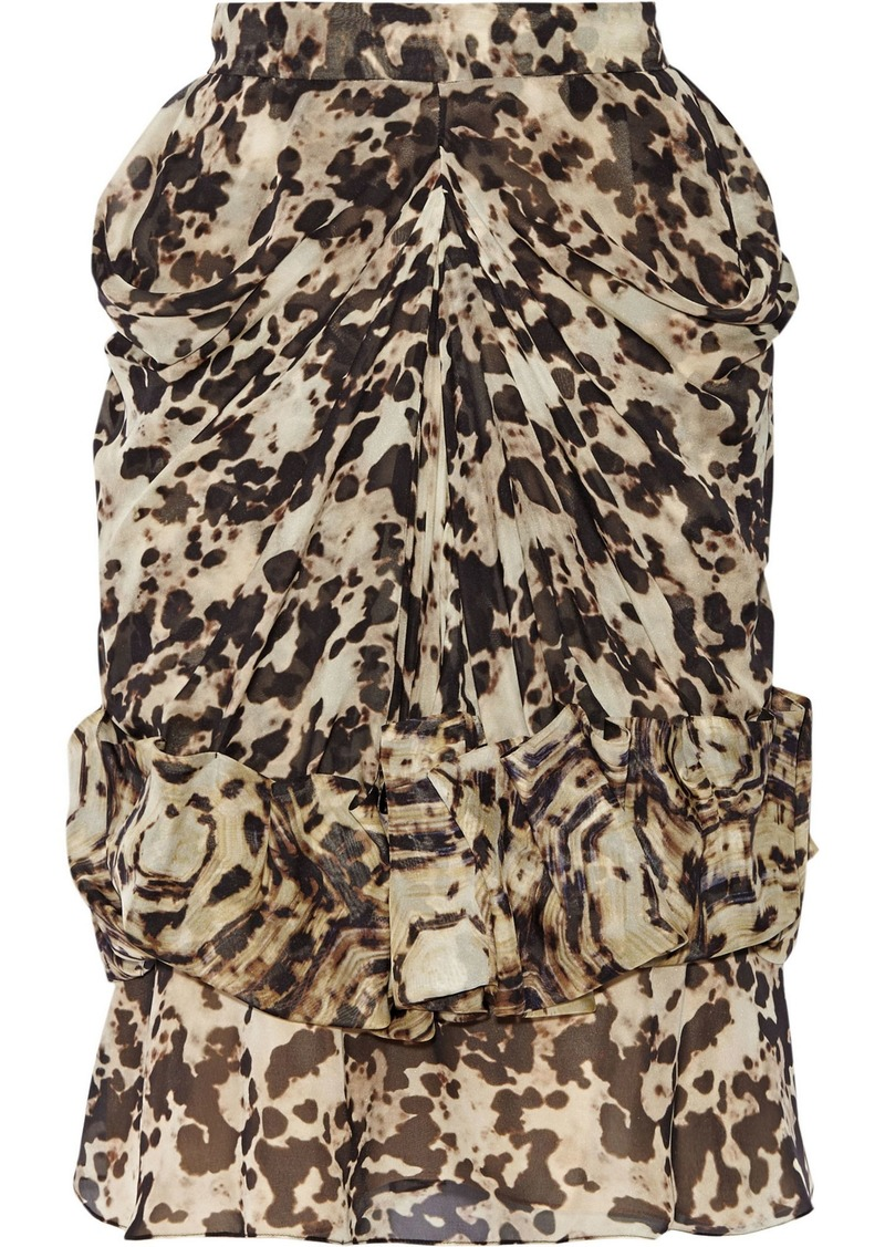 Givenchy Woman Ruched Silk-chiffon Skirt Animal Print