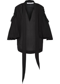 Givenchy Woman Ruffled Silk-chiffon Blouse Black