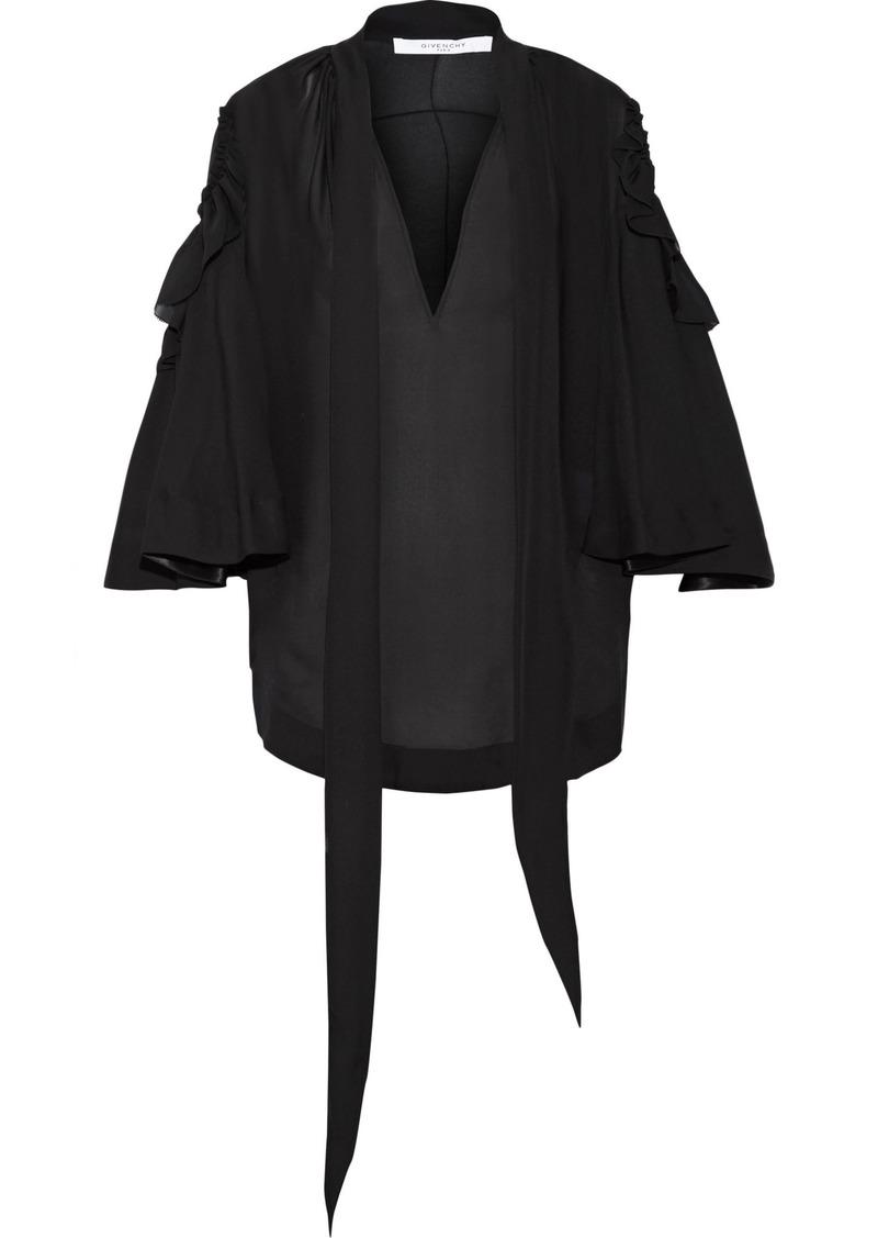 Givenchy Woman Ruffled Silk-chiffon Blouse Black