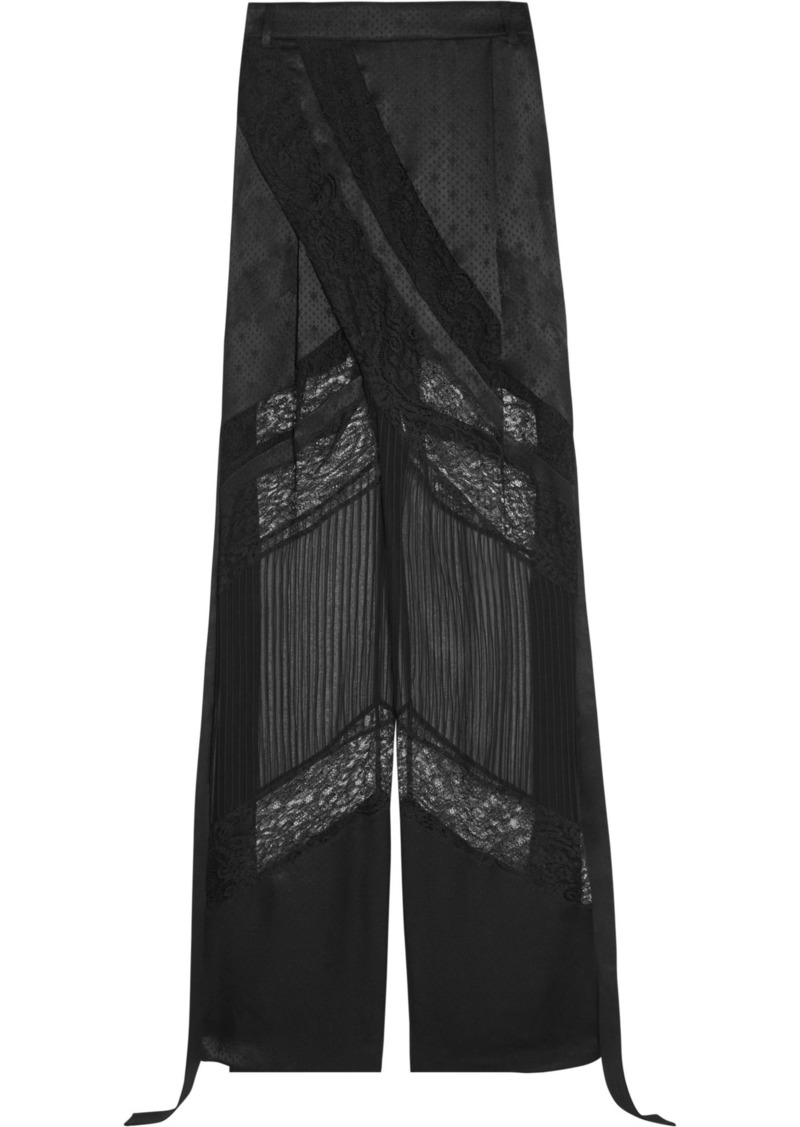 Givenchy Woman Satin Lace And Chiffon Wide-leg Pants Black