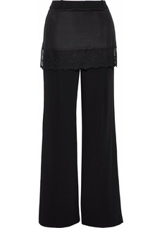 Givenchy Woman Satin-paneled Cady Wide-leg Pants Black