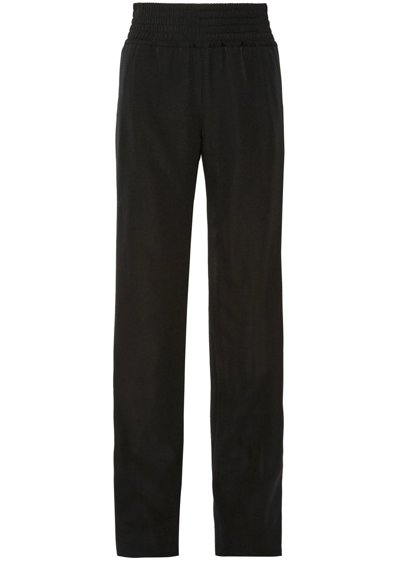 Givenchy Woman Satin-trimmed Grain De Poudre Wool Wide-leg Pants Black