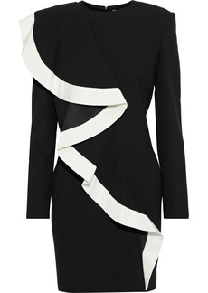 Givenchy Woman Satin Twill-trimmed Wool-crepe Mini Dress Black
