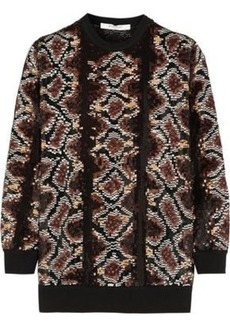 Givenchy Woman Sequin-embellished Snake-print Silk-chiffon Top Brown