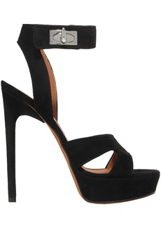 Givenchy Woman Shark Lock Cutout Suede Platform Sandals Black