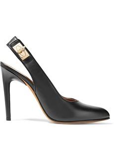 Givenchy Woman Shark Lock Leather Slingback Pumps Black