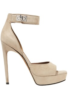 Givenchy Woman Shark Lock Suede Platform Sandals Beige