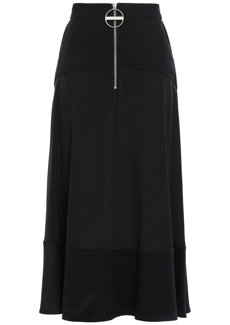 Givenchy Woman Silk Crepe De Chine Midi Skirt Black
