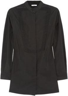 Givenchy Woman Silk Satin-trimmed Cotton-poplin Shirt Black