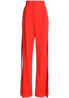 Givenchy Woman Silk Satin-trimmed Crepe Wide-leg Pants Red