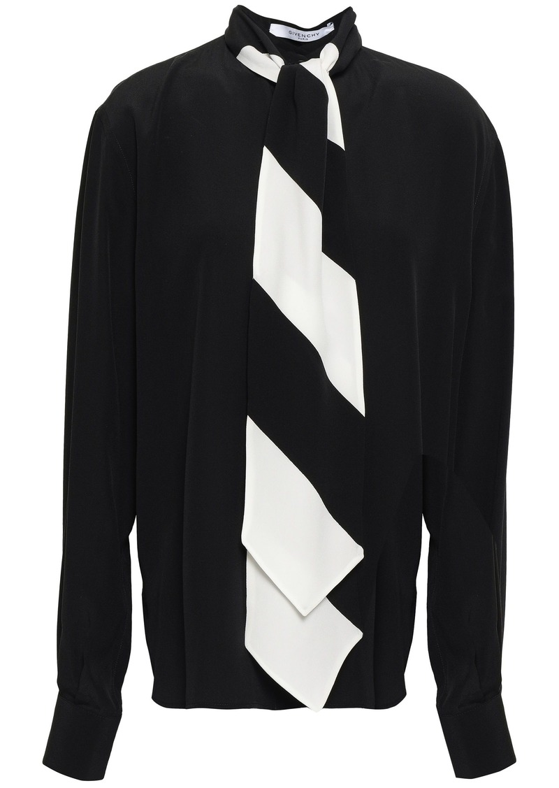 Givenchy Woman Pussy-bow Silk Crepe De Chine Blouse Black