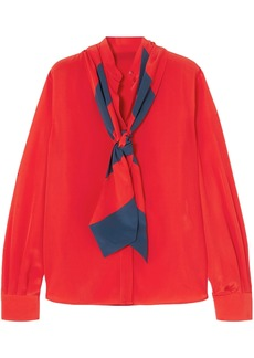 Givenchy Woman Pussy-bow Silk Crepe De Chine Blouse Red