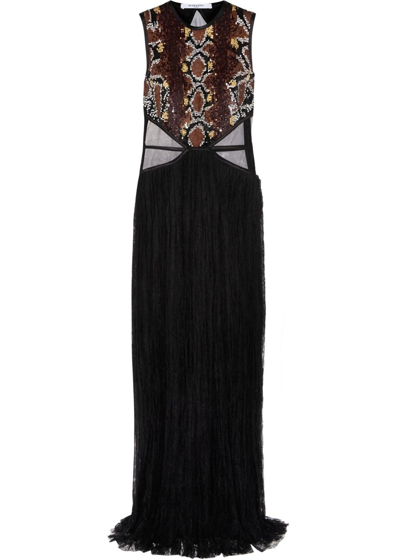 Givenchy Woman Tulle-paneled Sequin-embellished Chantilly Lace Gown Black