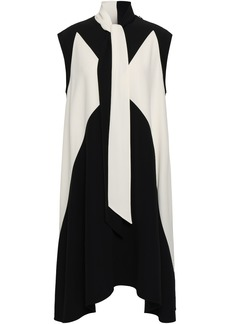 Givenchy Woman Two-tone Tie-neck Cady Dress Black