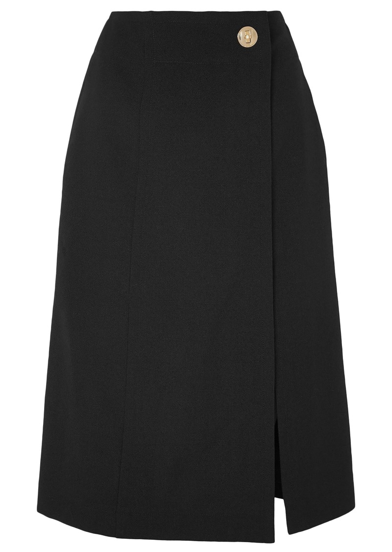 Givenchy Woman Wrap-effect Grain De Poudre Wool Midi Skirt Black