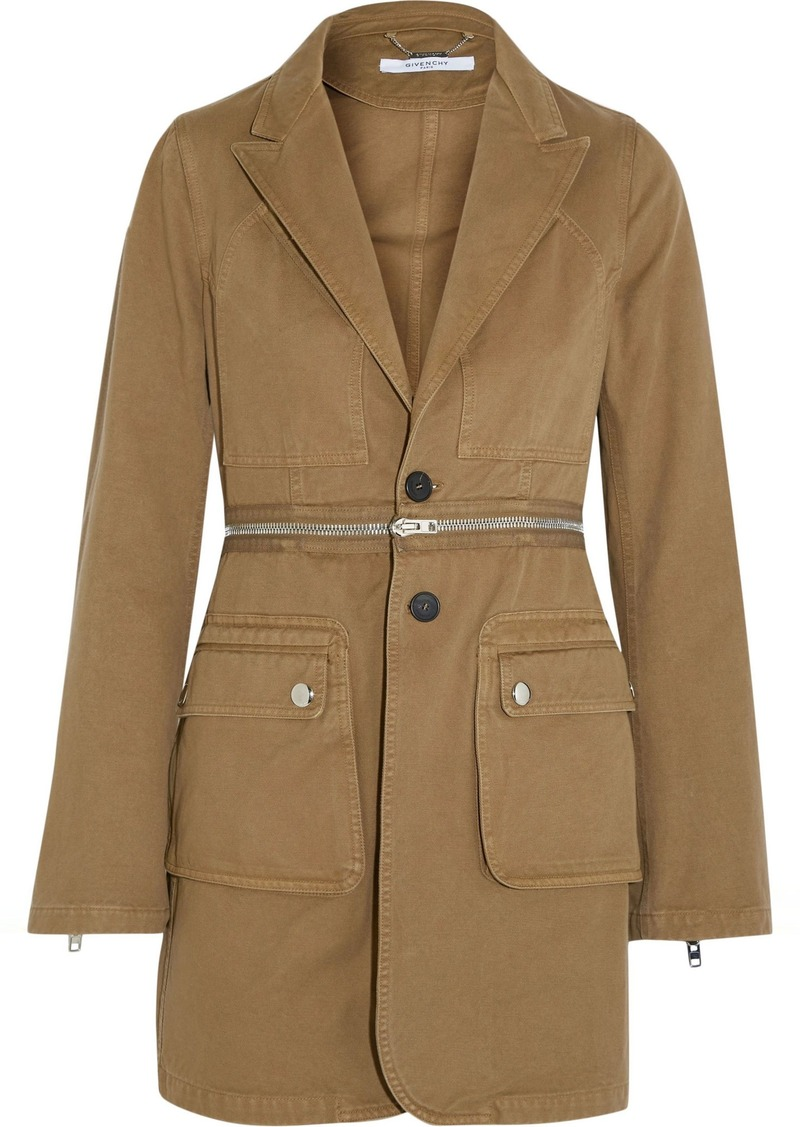 Givenchy Woman Zip-detailed Cotton-twill Blazer Army Green
