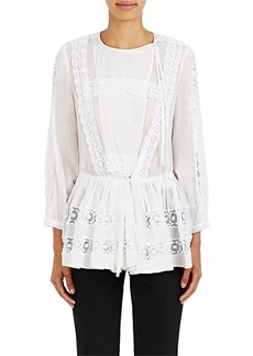 Givenchy Women's Crochet-Inset Long-Sleeve Top