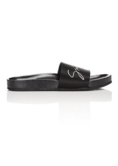 Givenchy Women's Crystal-Logo Satin Slide Sandals