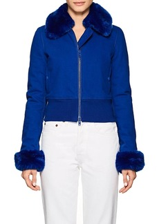 Givenchy Women's Faux-Fur-Detailed Cotton Denim Bomber Jacket