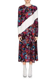 Givenchy Women's Fire Flower-Print Silk Midi-Dress