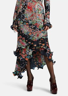 Givenchy Women's Floral Plissé Asymmetric Skirt