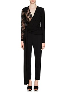 Givenchy Women's Lace-Sleeve Crepe Jumpsuit
