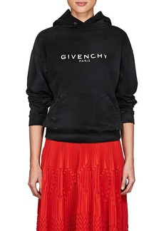 Givenchy Women's Logo Distressed Cotton Terry Hoodie