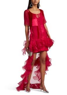 Givenchy Women's Ruffled Mixed-Media Tunic Top